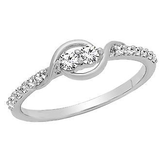 Dazzlingrock Collection 0,20 Carat (CTW) 14K runde diamant damer to sten Forlovelses ring 1/5 CT, hvid guld