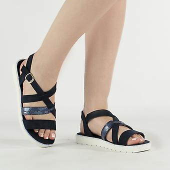 Shumo Citrus Ladies Strappy Buckle Fasten Sandals Navy