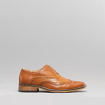 Goor Tommy Boys Lace Up Brogue Oxford Chaussures Tan