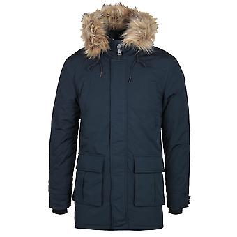 Schott Faux Fur Hood Navy Padded Jacket