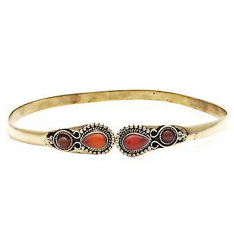 Bracelet supérieur haut bracelet en laiton rouge orange carnelien doré (932-07-013-16)