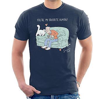 Simon ' s kat mijn favoriete menselijke mannen ' s T-shirt