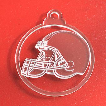 6pk American Football Helmet Clear Acrylic Christmas Decorations