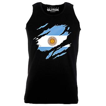 Reality glitch torn argentina flag mens vest