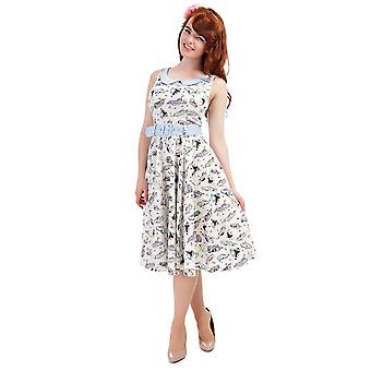 Collectif Vintage Women's Kitty 50s Car Print Swing Dress