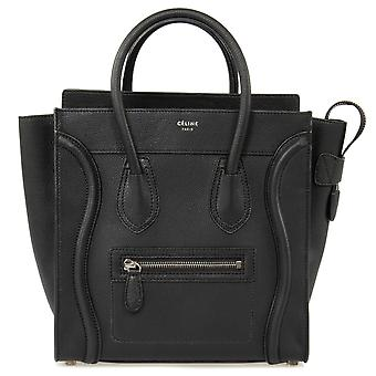 Celine Micro Luggage Tote Bag | Black Drummed Calfskin with Silver Hardware