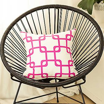 """18""""x18"""" Pink Geometric Squares Decorative Throw Pillow Cover"""