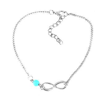 18k white-gold plated turquoise beaded anklet