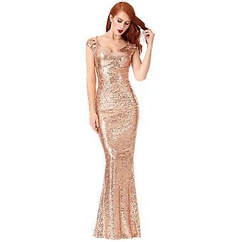 Goddiva Champagne Sequin Sweetheart Necked Maxi Dress