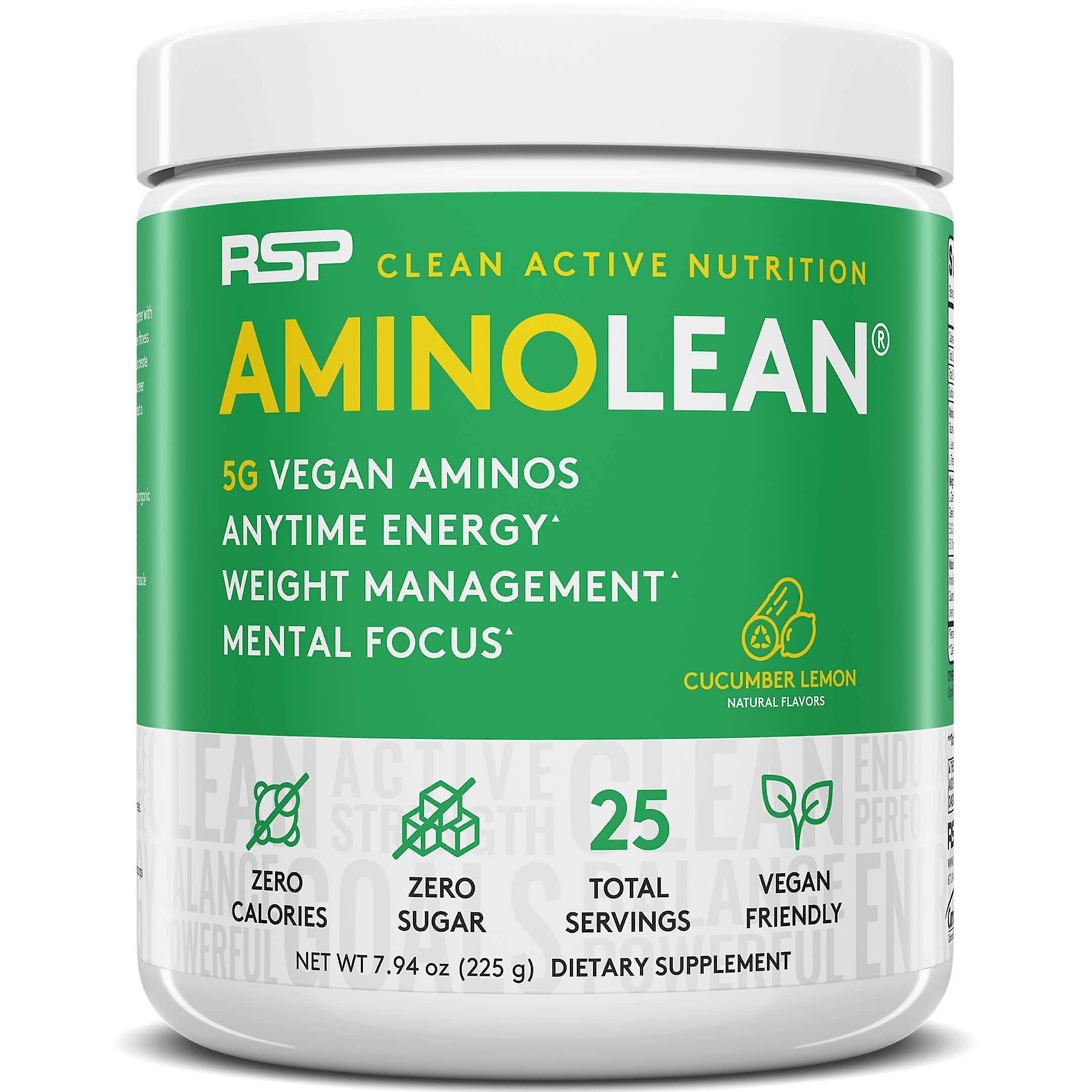Rsp vegan aminolean, pre-workout, energy, fat burner, amino acid powder (cucumber lemon, 25 servings)