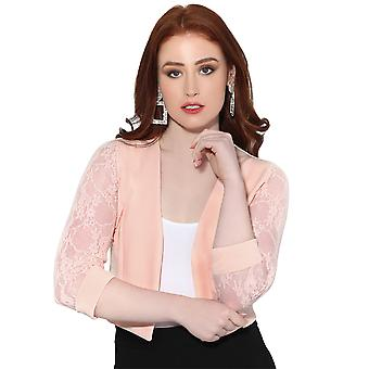 KRISP Donne Donne Pizzo Indietro 3/4 Sleeve Cropped Party Shrug Top Bolero Cardigan Giacca