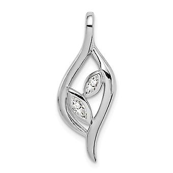 925 Sterling Argent Rhodium plaqué Poli Marquise CZ Cubic Zirconia Simulated Diamond Leaf Slide Jewelry Gifts for Wo