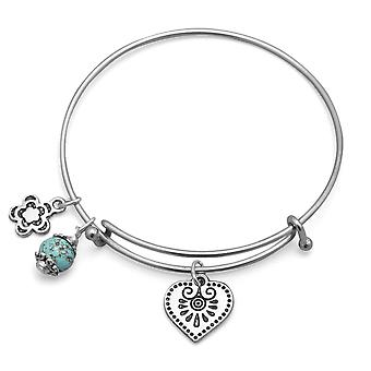 1.5mm Expandable Ss Tone Cuff Stackable Bangle Bracelet 10mm Flower Charm a 15mm Love Heart Charm An 8mm Magnesite Charm