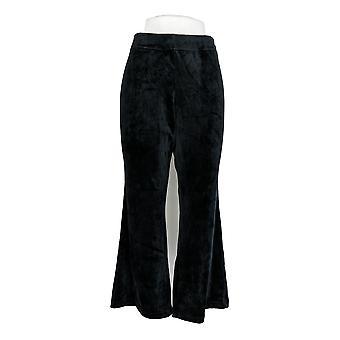Anybody Women's Petite Pants Velour Flare Black A297304