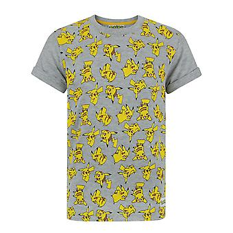 Pokemon T-shirt Boys Grey Top Yellow Pikachu All Over Print for Kids
