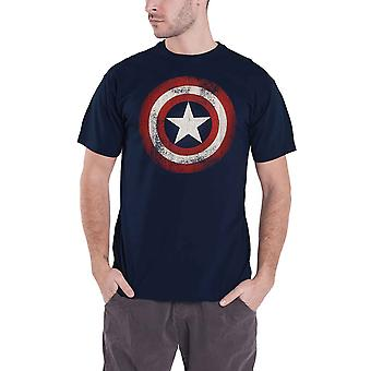 Captain America T Shirt Distressed Shield Logo Official Mens Navy Blue