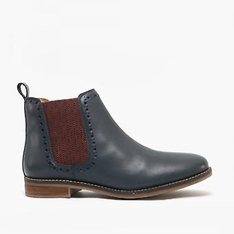 Cipriata Lidia Ladies Leather Brogue Detail Chelsea Boots Navy