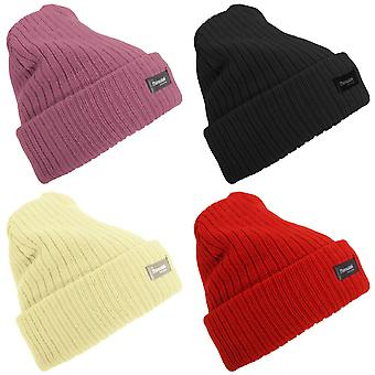 Floso Womens/dames Rib gebreide Thinsulate Winter hoed