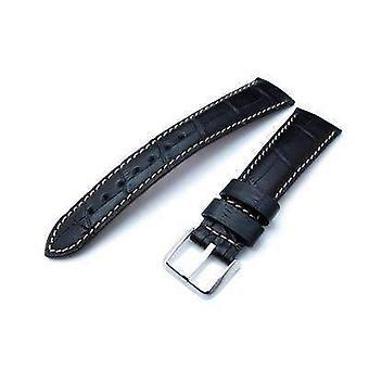 Strapcode crocodile grain watch strap 20 or 22 mm crococalf (croco grain) matte black semi-curved watch strap, beige stitching, p