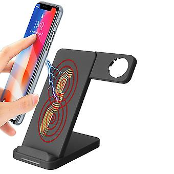10W doppia bobina qi caricabatterie wireless caricabatterie veloce - supporto dell'orologio per qi-enabled smart phone iphone samsung Apple watch