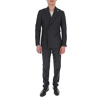 Lardini Ei425aeeirp544954 Men's Grey Cotton Suit