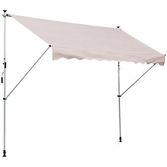 Outsunny Balcony 3 x 1.5m Manual Adjustable Awning DIY Patio Clamp Awning Canopy  Retractable Shade Shelter - Beige
