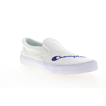 Champion Fringe Slip On  Mens White Canvas Sneakers Shoes