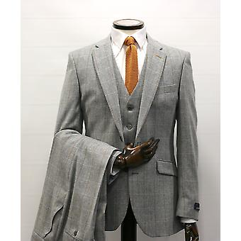 Grey Herringbone With Check Tweed Suit Jacket