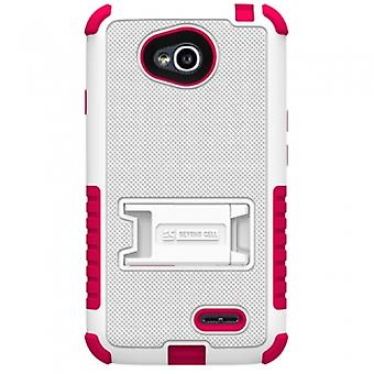 LG OPTIMUS L70 BEYOND CELL TRI SHIELD CASE - WHITE/HOT PINK