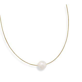 16 Tum 24 Karat 14k Guldpläterade 925 Sterling Silver Halsband med en 13mm vit sötvattenodlade Pearl Smycken Gåvor