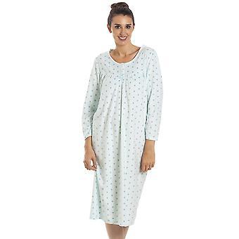 Camille Classic Long Sleeve Mint Polka Dot Miękki Polar Nightdress