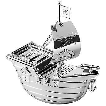 Orton West Pirate Ship Money Box - Silver