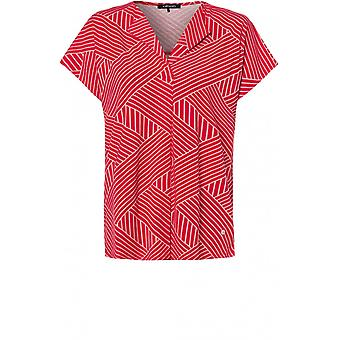 Olsen Red & White Striped Design Top