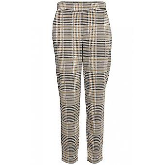 b.young Check Print Slim Leg Trousers