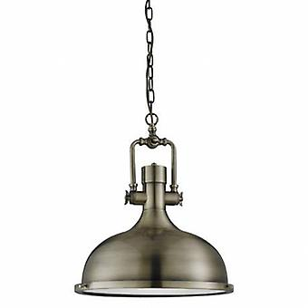 1 Light Dome Ceiling Pendant Antique Brass With Glass Diffuser