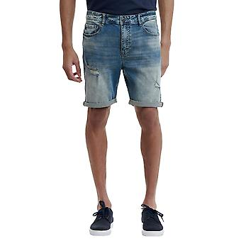 Funky Buddha Men's Denim Shorts With Destroyed Effects