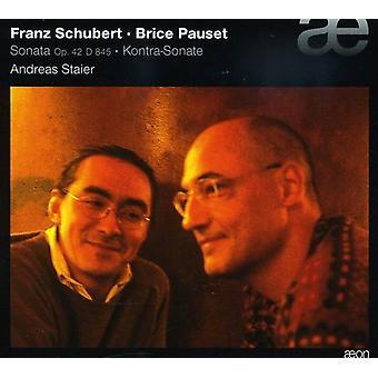 F. Schubert - Franz Schubert: Sonate, Op. 42, D. 485; Brice Pauset: Kontra-Sonate [CD] USA importerer