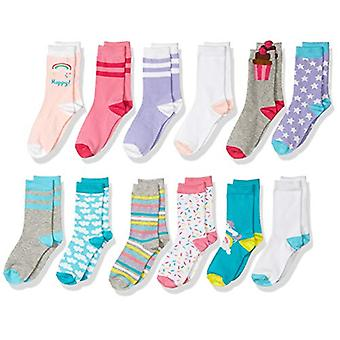 Spotted Zebra Kids' 12-Pack Crew Socks, Unicorn, X-Small (6-9)