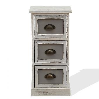 Rebecca Furniture Comodino 3 White Wood Drawers Design Classic 62x29x25