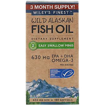 Wiley's Finest, Wild Alaskan Fish Oil, Easy Swallow Minis, 450 mg, 180 Softgels