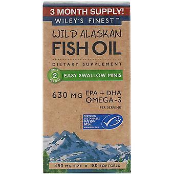 Wiley's Finest, Huile de poisson sauvage de l'Alaska, Easy Swallow Minis, 450 mg, 180 Softgels