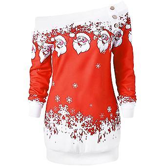 Off-Schulter dicken Pullover mit Weihnachtsmuster - Größe M, rot