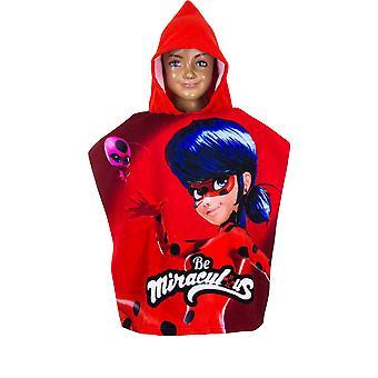 Miraculous ladybug girls hooded poncho towel mlb9628pon