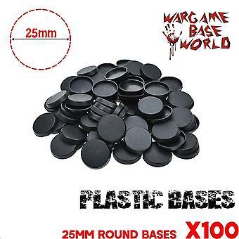 قواعد بلاستيكية مستديرة 25 ملم للمنمنمات الألعاب وألعاب الطاولة