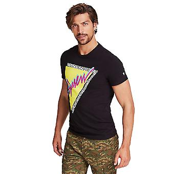Guess Multi coloured Graphic Logo T-Shirt - Schwarz