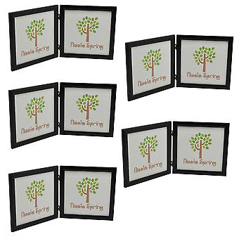 Black 8x8 Folding Double Photo Frame - Standing - Pack of 5