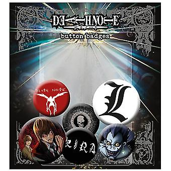 Death Note Buttonset Mix  4 Buttons (25mm) + 2 Buttons (32mm) aus Metall, in Blisterverpackung.