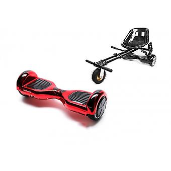Pakket Smart Balance™ Hoverboard 6,5 inch, Regular Electrored + Hoverseat with Suspensions, Motor 700 Wat, Bluetooth, Led