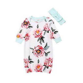 Baby Floral Printed Long Sleeve Nightgown, Casual Sleepwear