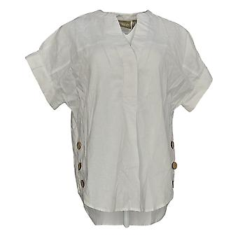 Denim & Co.Women&apos&s Natural Linen Blend Haut w/Button Détail Blanc A377986